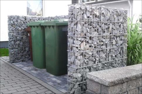 Gabionen-Mülltonnenbox   für bis zu 4 Mülltonnen